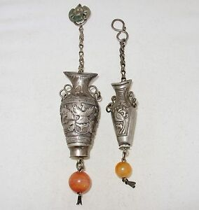 2 Antique Chinese Silver Needle Holder Pendants W Carnelian Agate Beads 46 8g