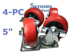 4pc 2200lb capacity 5 Pu Wheel Swivel Top Plate Caster Set W 2 Locking Wheels