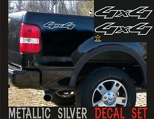 4x4 Truck Bed Decals Silver Set For Ford F 150 Super Duty And Ranger