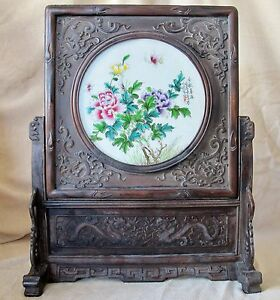 Big 25 Chinese Carved Wood Porcelain Table Screen W Dragons Flowers Poem
