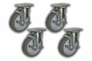 Set Of 4 Swivel Plate Caster W 5 Non marking Wheel Top lock Brake 1300 Lbs