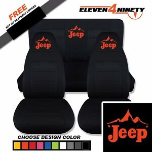 1987 1995 Jeep Wrangler Yj Black Seat Covers Mountainscape Logo 9 Colors