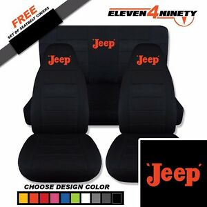 1987 1995 Jeep Wrangler Black Seat Covers Retro Jeep Logo Choose From 9 Colors