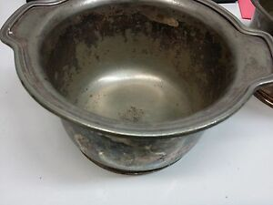 58 5lbs Copper Nickel Silver Soldered Scrap Norte Dame Soup Tureen Serving Bowls