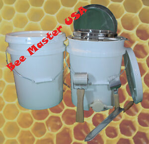 Bottling storage Pail W gate Lid Double Strainer Uncapping Roller fork knife