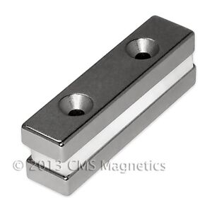 Neodymium Magnets N42 2x1 2x1 4 W 2 Countersunk Holes For 6 50 Pc N Pole