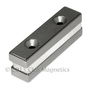 Neodymium Magnets N42 2x1 2x1 4 W 2 Countersunk Holes For 6 10 Pc s Pole