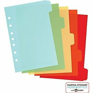 Martha Stewart With Avery Home Office Plastic Dividers For Cookbook School New