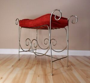 Hollywood Regency Mid Century Metal Wire Vanity Chair Stool Red Cushion Vtg
