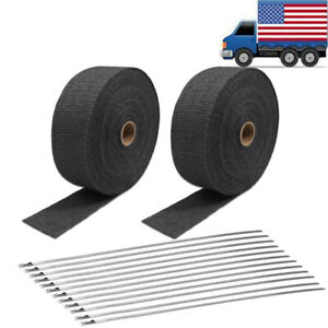 2 Rolls 2 50ft Titanium Exhaust Header Pipe Heat Wrap 12 Ties