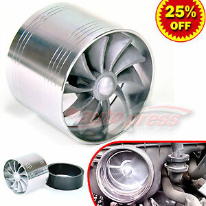 For Honda 2 5 3 0 Turbo Charger Air Intake Turbine Gas Fuel Saver Fan Silver
