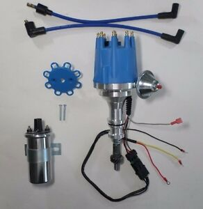 Small Block Ford 351w Windsor Pro Series Small Hei Distributor Chrome 45k Coil