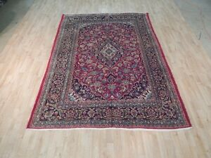 Durable Soft Wool 7x9 Persian Rug Hand Knotted Classic Kashan Perfect Gift Rug
