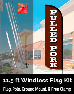 Pulled Pork Windless Feather Banner Flag Kit flag Pole Ground Mt