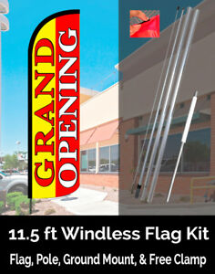 Grand Opening yellow red Windless Feather Banner Kit flag Pole