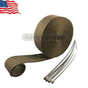1 Roll Thermal Header Pipe Tape Titanium Lava Exhaust Wrap 2 X 50ft Ties Kit