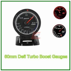 60mm Def Advanced Turbo Boost Gauge Amber Red White Lights Black Face Auto Met