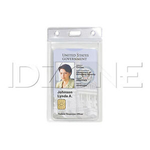 Qty 50 New Vertical Fips Approved 2 card Clear Vinyl Badge Holder 1840 5080
