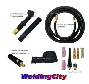 Tig Welding Torch 26f Package 200a 12 Flex Head Replacement For Lincoln Pta