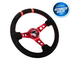 Nrg 350mm 3 deep Dish Suede Steering Wheel Red Spokes Double Mark Rst 016s rd