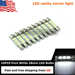 10pcs Cool White 28mm 3smd 6614f Led Bulbs For Car Sun Visor Vanity Mirror Light