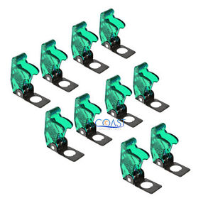 10x Car Marine Industry Spring loaded Toggle Switch Safety Cover Clear Green