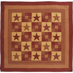 New Primitive Country Patchwork Red Burgundy Tan Star Quilt Queen Bedspread