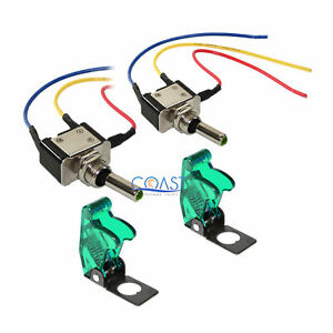 2x Car Home Heavy Duty Green Led Metal Toggle Switch On off W covers Mtsg