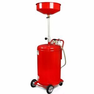 Oil Drain Pan Portable 20 Gallon Waste Air Operated Drainer Drainage Lift Auto