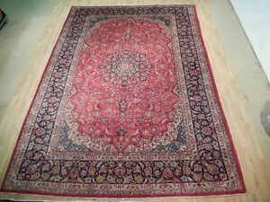 Hand Woven 10 X 14 Navy Blue Red Persian Tabriz Wool Rug Warehouse Rugs Price