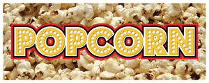 Popcorn Banner Concession Cart Kettle Corn Sign 48x120