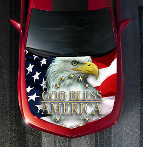 H46 Eagle American Flag Hood Wrap Wraps Decal Sticker Tint Vinyl Image Graphic