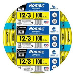 100 ft Roll 12 3 Awg Nmb Gauge Indoor Electrical Copper Ground Wire Romex Cable