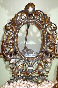 Antique Bronze Vintage Picture Frame Oval Easel Back