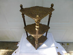 3 Tier Brass Corner Table Ornate Plant Stand Nightstand Hollywood Regency 8057