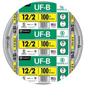 100 Roll 12 2 Awg Ufb Gauge Outdoor Burial Electrical Feeder Copper Wire Cable