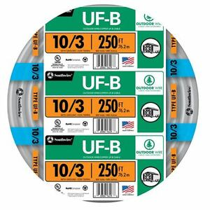 250 Roll 10 3 Awg Uf b Gauge Outdoor Burial Electrical Feeder Copper wire Cable