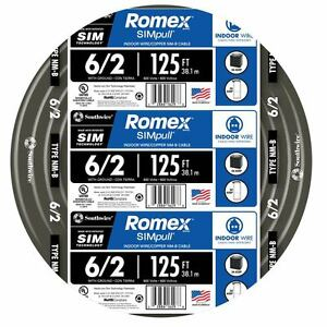 125 ft Roll 6 2g Awg Nmb Gauge Indoor Electrical Copper wire Ground Romex Cable