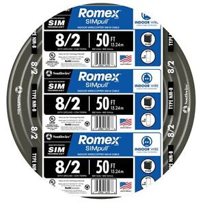 50 foot Roll 8 2 Awg Nm b Gauge Indoor Electrical Copper Wire Ground Romex Cable