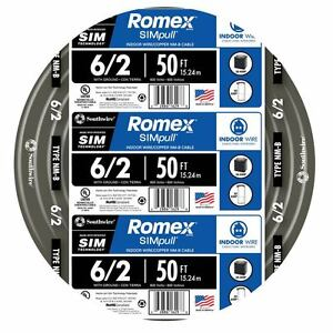 50 ft Roll 6 2g Awg Nm b Gauge Indoor Electrical Copper Wire Ground Romex Cable