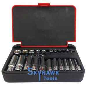 22 Pc 1 4 1 8 Dr Female Star Torx Socket Set E4 E10 E11 E18 With Case