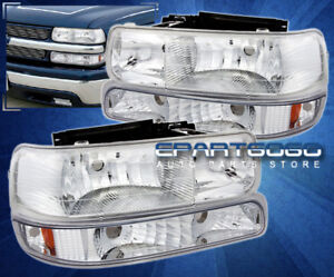 99 02 Silverado Driving Replacement Head Lights Turn Signal Lamps Unit Chrome