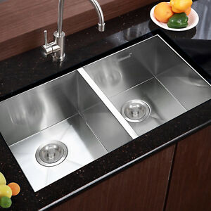 30 x18 Commercial Stainless Steel Kitchen Sink Double Bowl Undermount 19 Gauge