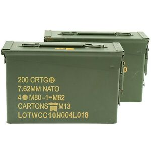 .30 Caliber Ammo Can Military Surplus Grade 1 2 Pack $33.45