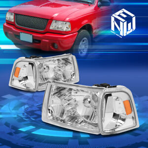 For 01 11 Ford Ranger Oe Style Chrome Amber Corner Headlight Lamps Replacement