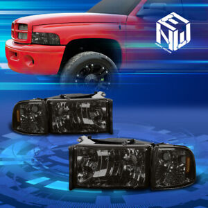 For 94 02 Dodge Ram 1500 3500 Smoked amber Headlights corner Lamps Replacement