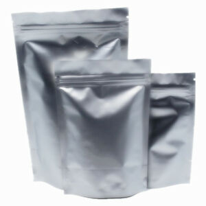 Silver Aluminum Foil For Zip Mylar Bag Lock Smell Proof Pouch Food Storage Pack