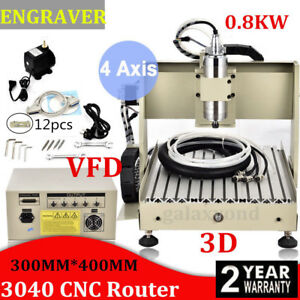 3040t Cnc Router 4 Axis Engraver Engraving Milling Machine Drilling 800w Mach3