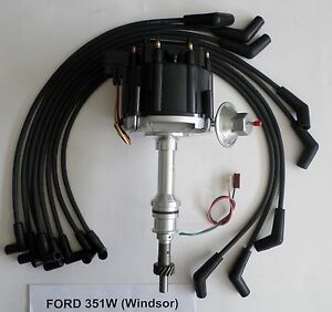 Ford 351w Windsor Black Hei Distributor 8mm Spiral Core Spark Plug Wires Usa