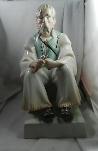 Zsolnay Bacon Wood Carver Man Hungarian Porcelain Figurine Statue Large 13